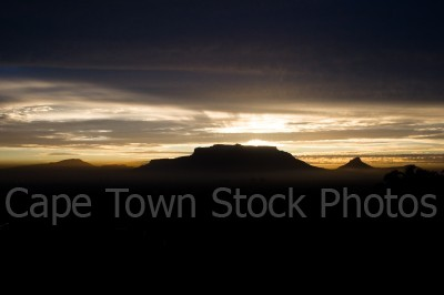 sunset,silhouette,table mountain