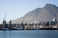 Fishing boats moored in Table Bay Harbour [1001235697]