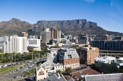 city,table mountain,devil's peak,buildings
