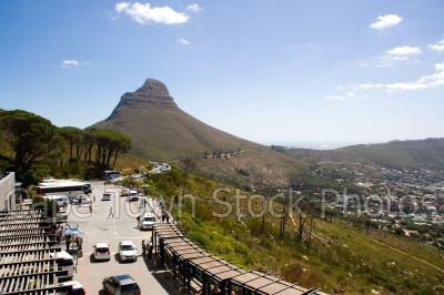 lions head,table mountain,cars,cableway,roads