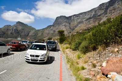 table mountain,cars,cableway,roads