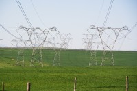 Electicity pylons on a green field [1106107337]