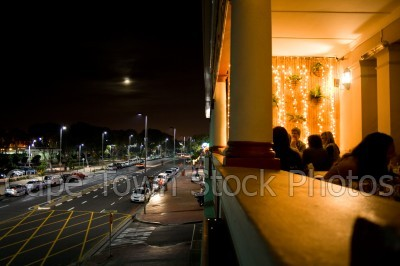 balcony,restaurants,cars,moon,streets