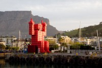 Red Coca-Cola man at the V&A Waterfront [1108290287]