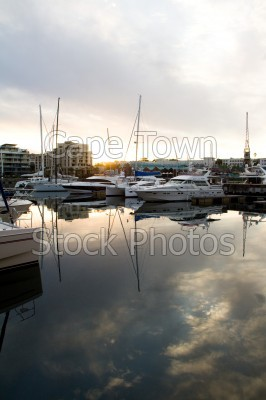 v&a waterfront,harbour,reflection,sunset,yacht