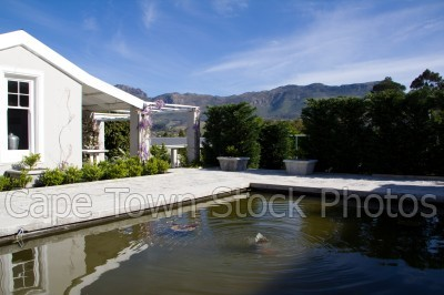 reflection,mountain,houses,franschhoek