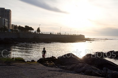 sea,people,sunset,woman,sea point,three anchor bay