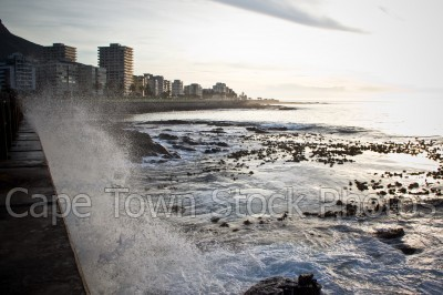 sea,lions head,waves,buildings,sea point