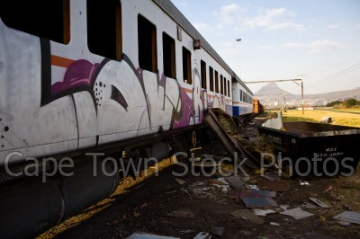 graffiti,train,rubbish