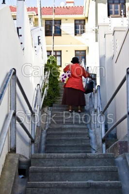 people,woman,green point,stairs