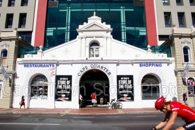 cyclist,green point,cape quarter,buildings,streets
