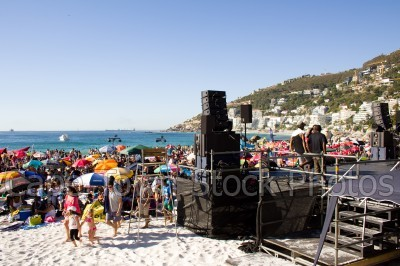 beach,people,clifton 4th beach,music,concert,umbrella,stages
