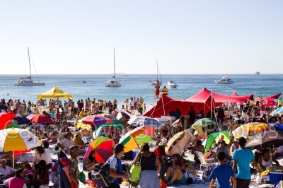 boat,beach,people,clifton 4th beach,umbrella,yacht