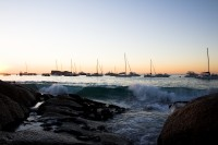 Yachts at Clifton 4th beach at sunset [1202185940]