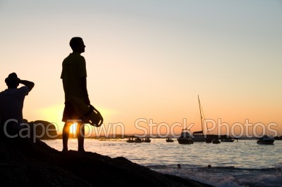 sea,boat,beach,sunset,clifton 4th beach,silhouette,yacht,lifeguard,lifesaver,guard