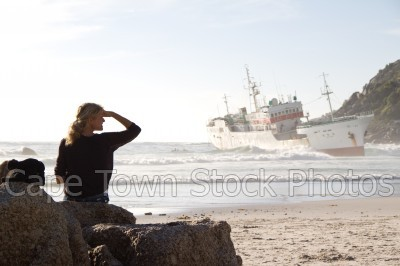 boat,beach,woman,clifton