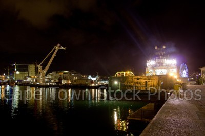 v&a waterfront,harbour,boat,cranes,night