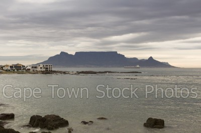 sea,table mountain,big bay,cloudy,dusk