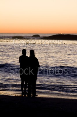 sea,beach,people,sunset,clifton,silhouette