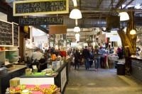 Food stalls and people at Bay Harbour Market [1307076823]