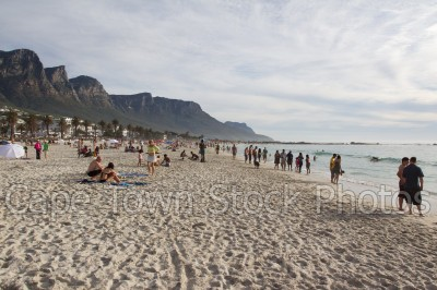 sea,beach,people,camps bay,cloudy,mountains