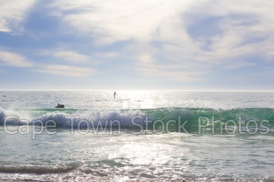 reflection,sea,beach,camps bay,waves,sup,horizon