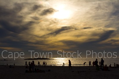 sea,beach,people,sunset,silhouette,camps bay