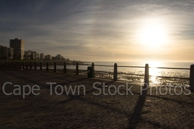 sunset,sea point,three anchor bay,promenade,railing,golden hour