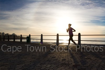 people,sunset,sea point,three anchor bay,promenade,running
