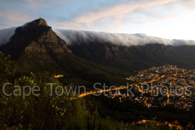 sunset,table mountain,camps bay,lights,mountains,evening