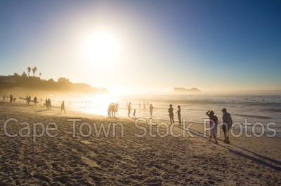 beach,people,sunset,clifton,silhouette