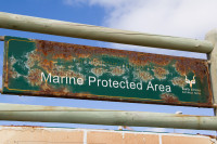 Mouille Point's rusted Marine Protected Area sign [1403220745]
