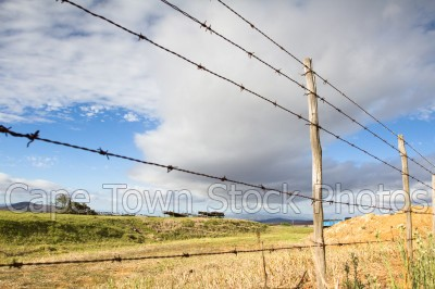 barbed wire,fence,farm,cloudy