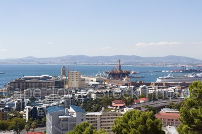 v&a waterfront,harbour,signal hill,blue sky,table bay,oil rig