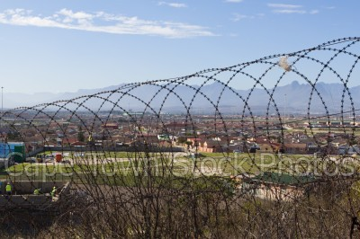 barbed wire,view,lookout hill,khayelitsha,viewing deck